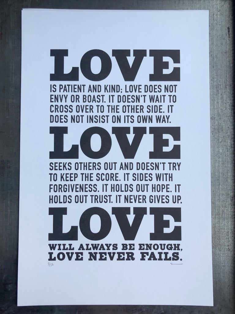 Love Never Fails Print 11x17