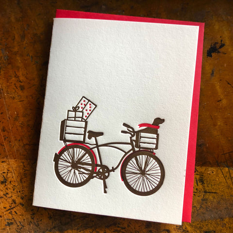 Holiday Dog Bike Card