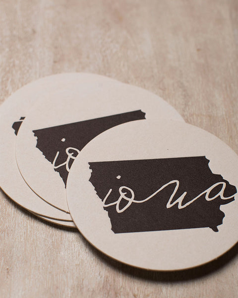 The permanent collection letterpress black iowa coaster