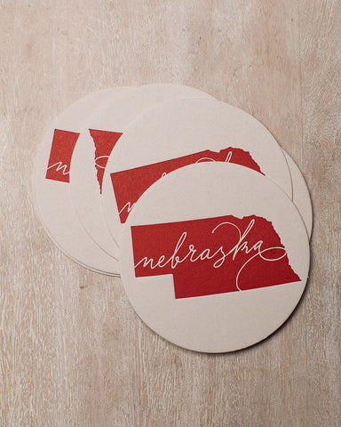 The permanent collection letterpress red nebraska coaster