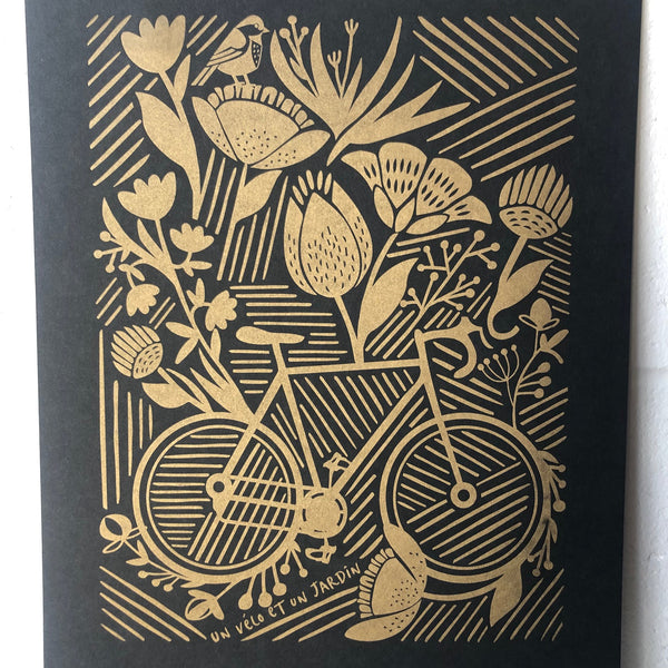 Bike in Garden, Black and Gold
