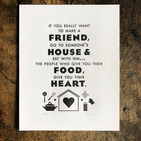 Friend House Food Heart Print