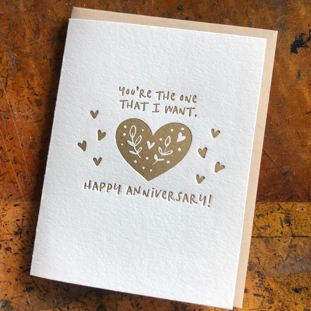You're the one that I want anniversary card