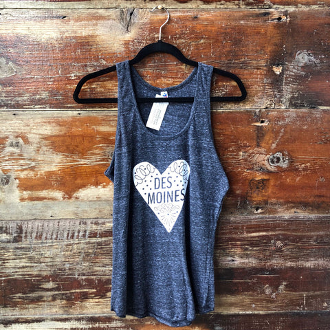 Des Moines Heart Tank Top- White