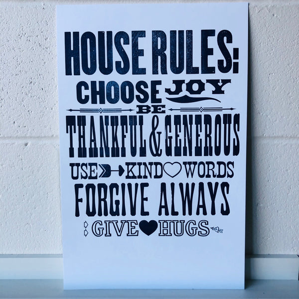 House Rules, Woodtype
