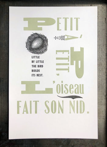 Little By Little French Proverb 11x17 print