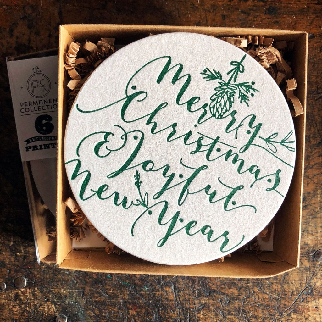 Merry Christmas Joyful New Year Coasters (set of 6)