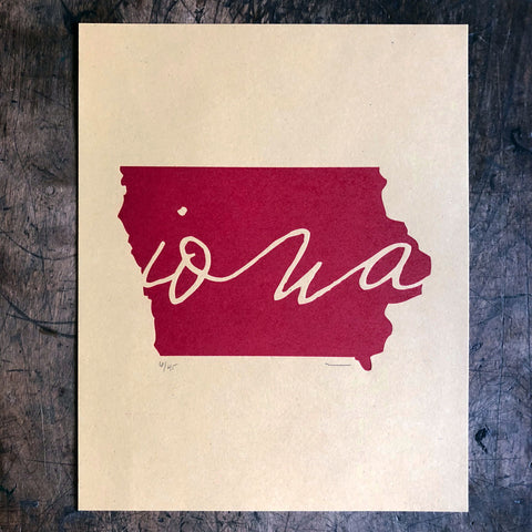 Iowa Outline Print - Red