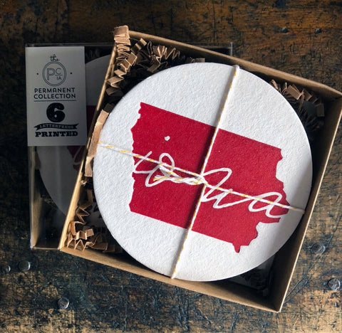 Iowa Coaster - Red Set of Six