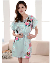 Plus Size Women's  Nightgown Light Blue Sexy  Sleepshirts  Pijama Mujer