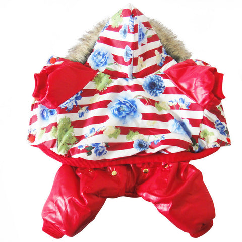 New Autumn and Winter Pet Dog Flower Pattern Cotton Coat Dog Clothes Jumpsuit Coat for Big Dog