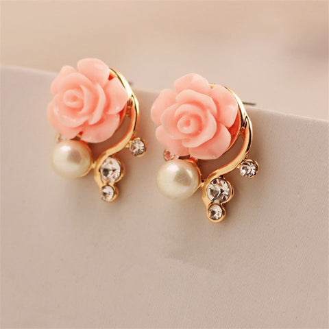 Fashion Jewelry  Earrings For Women Korean Style OL Pink Rose Flower Crystal Pearl Double Side Stud Earrings
