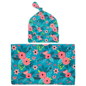 Baby Blanket  Wrapped Cloth Blanket Flower Tire Cap Set