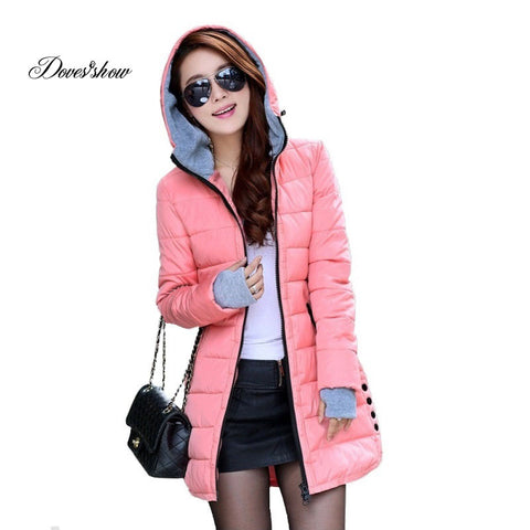 Women's Hooded Cotton-Cotton Coat Plus Size Down Jacket Female Slim Ladies Jackets Coats