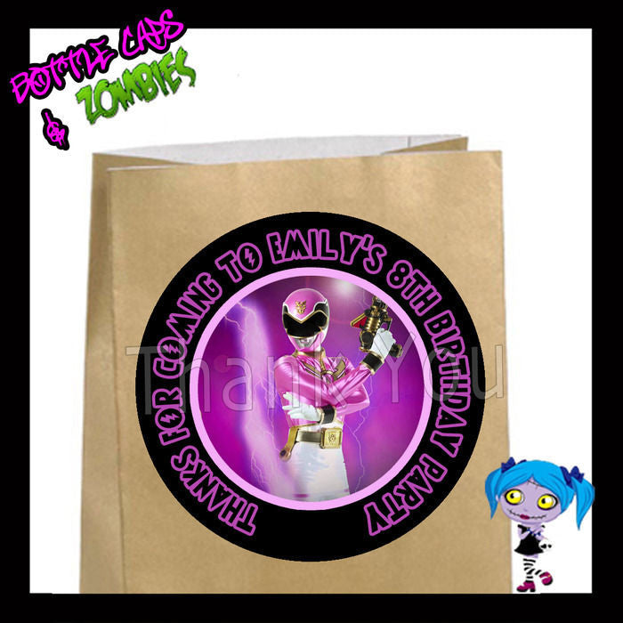 Power Rangers PINK Birthday Party Favor Goody Bag STICKERS - Personalized Lab...