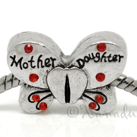 Mother Daughter Butterfly European Bead For Charm Bracelet - Mom, Mommy Jewelry