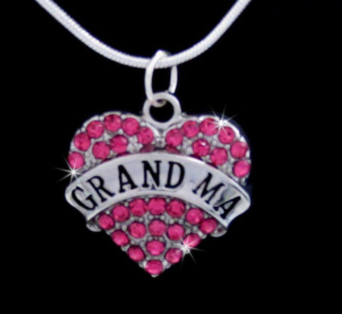 GRANDMA HEART CRYSTAL CHARM PENDANT CHAIN NECKLACE PINK GIFT BOXED