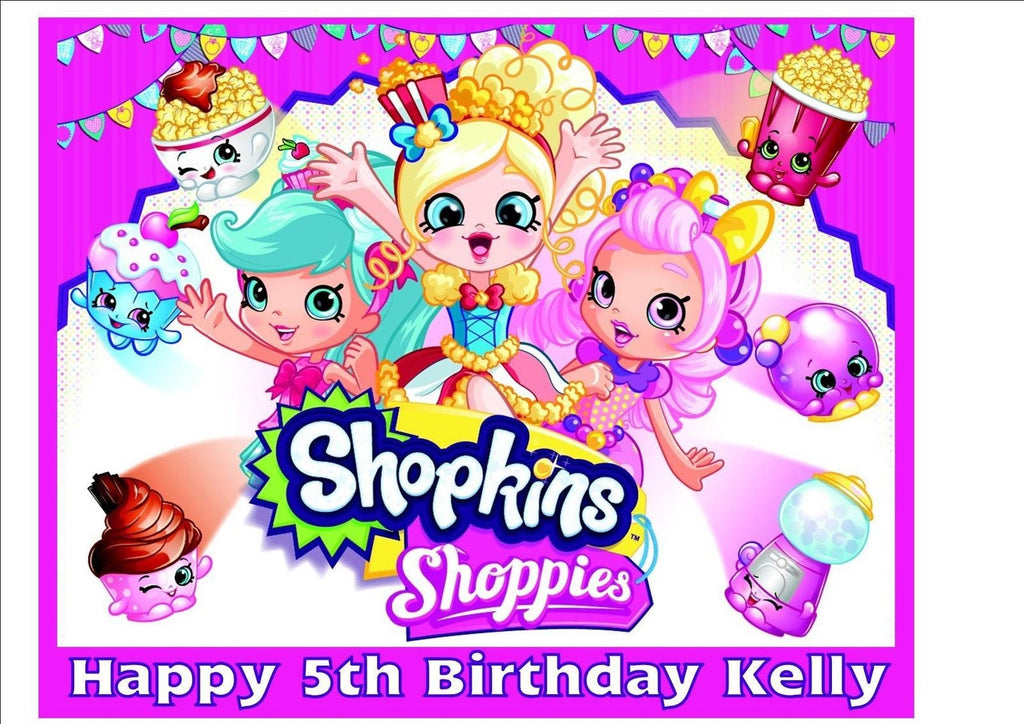 Shopkins Shoppies Rice Paper Birthday Cake Topper! R116