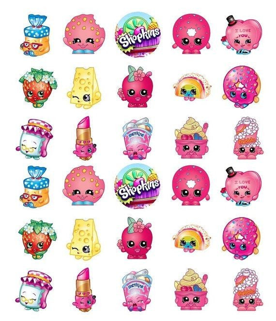 EDIBLE IMAGE-30 SHOPKINS CUPCAKE & CAKE TOPPERS