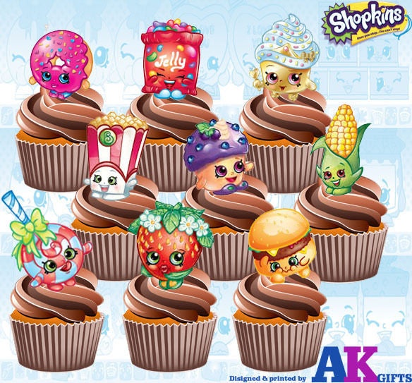 Shopkins Birthday Party Pack - 36 Edible Cup Cake Toppers Decorations Girls Boys