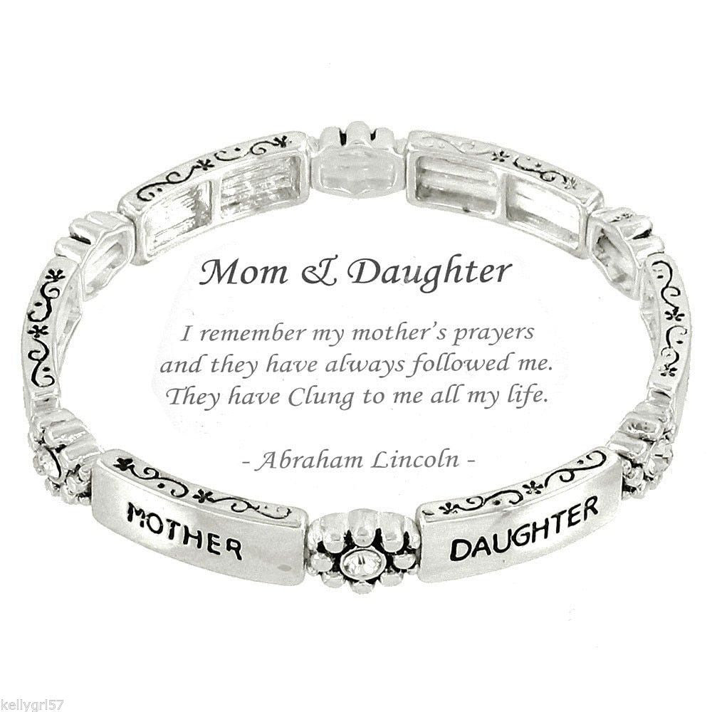 Mother Daughter Special Bond Mom Family Mother's Day Plate Bracelet #83-E