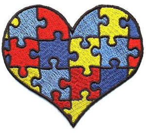 Autism Awareness Heart Puzzle Piece Embroidered Iron On Patch