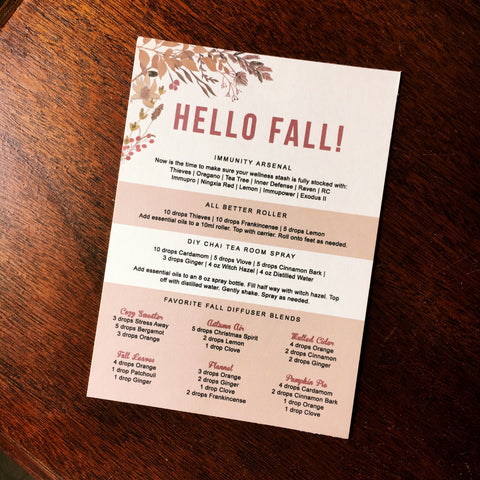 Hello Fall Postcard & Coordinated Diffuser Samples