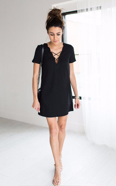 Black Lace Up Dress