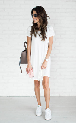 Jersey Swing Dress- White