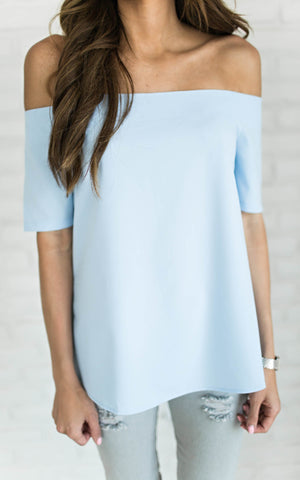 Light Blue Off The Shoulder Top