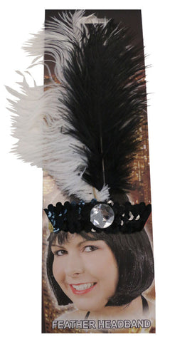 20s Headband Sequined Black/White