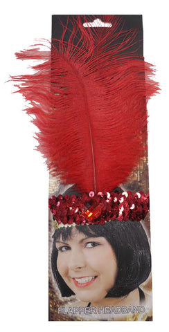20s Headband Sequined Red