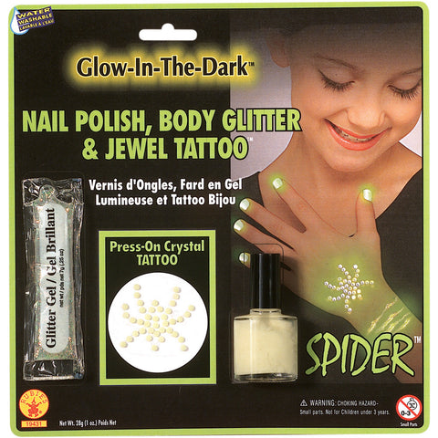 GLOW-IN-DARK GEM SPIDER TATTO KIT