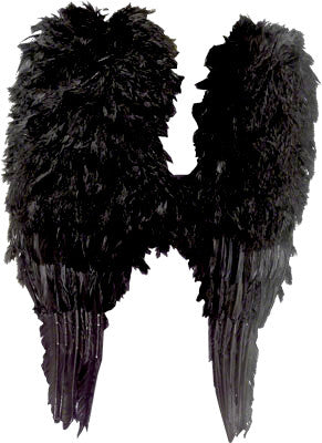 Large Feather Angel Wings Black