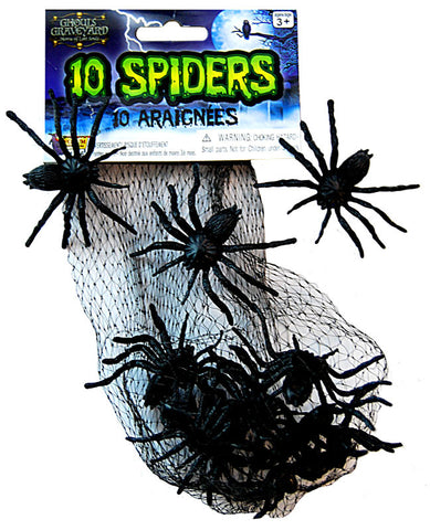 Mini Creepy Creatures Pk 10 Spiders