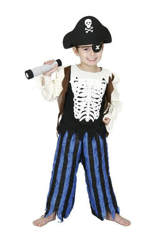 SKELETON PIRATE CHILD COSTUME - SIZE 3-5