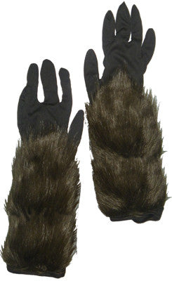 Long Hairy Werewolf Gloves Adult