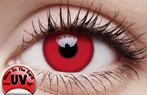 Crazy Lens Contacts UV Glow Red