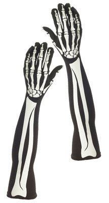 Long Skeleton Gloves Adult