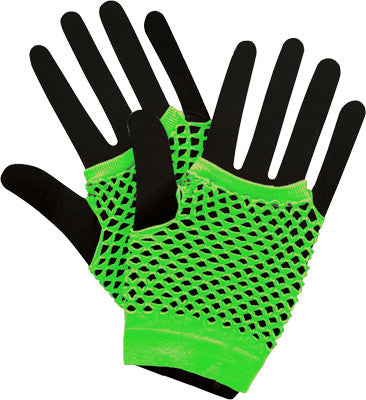 Short Fishnet Punk Gloves Neon Green