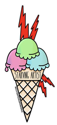 Starving Artist Ice Cream Sticker