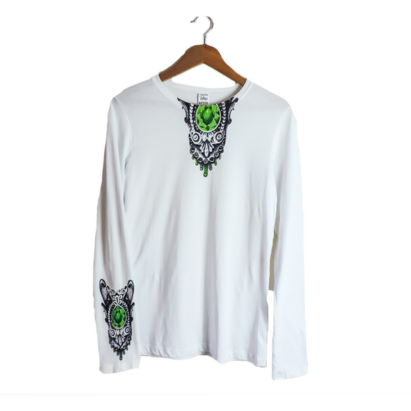 Amulet- Long Sleeve White Fashion Top for Women with Swarovski Rhinestones by artist Junior Mondragon