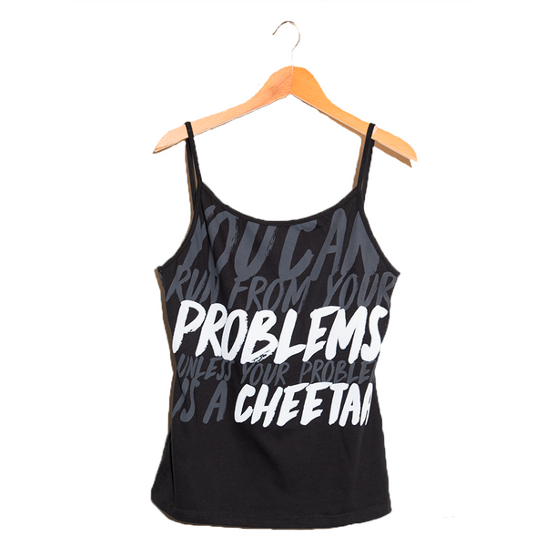 Cheetah- Fun Design black Tank Top for Women - cosmopolitan copy writer