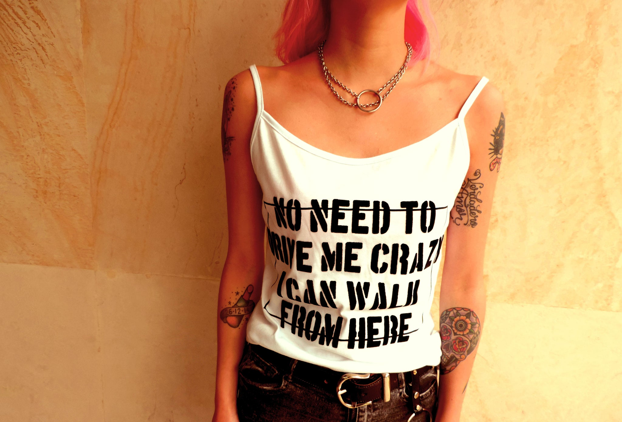 Crazy- Fun Design white Tank Top for Women