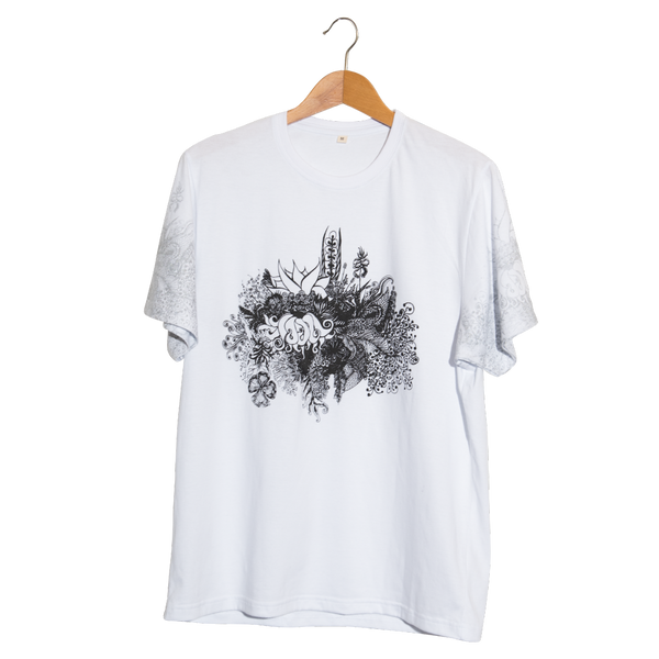 Flora 1- Artistic Design white T Shirt for Men