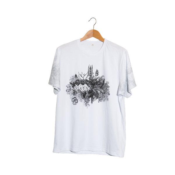 Flora 1- Artistic Design white T Shirt for Women