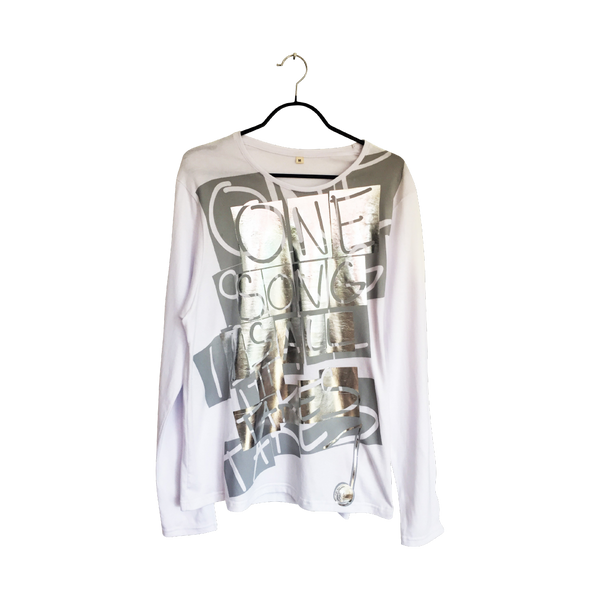 One Song- Artistic Design white Long Sleeve T Shirt Men