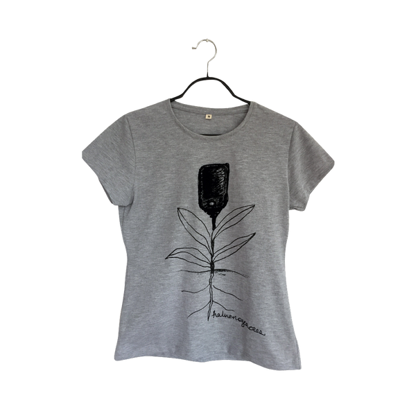 Halucinogeacea- Artistic Design gray flower T Shirt for Women