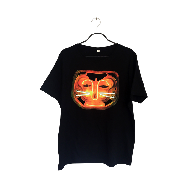 Red Cat- Artistic Design black T Shirt for Men - pop art neon sculpture