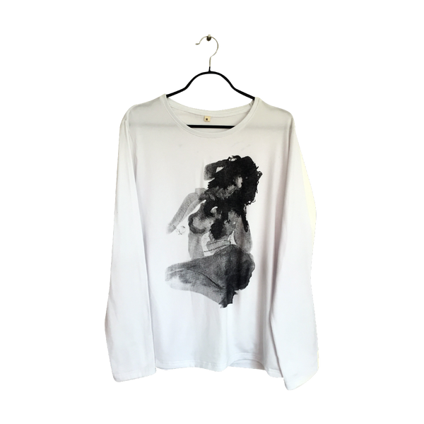 Mujer- Artistic Design white lux Long Sleeve T Shirt for Men